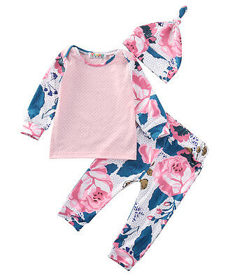 3PCS Baby Boys Girls Tops T-shirt Pants Leggings Hat Floral Outfits Set Clothes