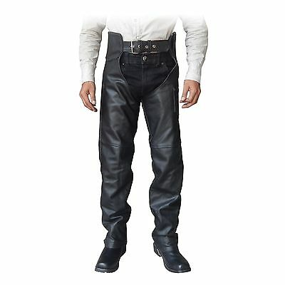 2Fit™ Unisex Genuine Black Leather Motorcycle Chaps for Bikers S to 6XL