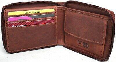 RFID Security Lined Zip Around Wallet. Quality Full Grain Cow Hide 12011