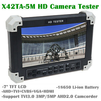 "X42TA-5M  7"" Screen Handheld HD-TVI+AHD+HDMI+VGA+CVBS Camera Video CCTV Tester"