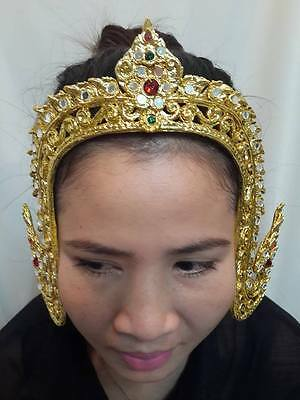 Traditional Thai Dance gold Costume DRESS FRONT crown art craft Tiara Carved RAM