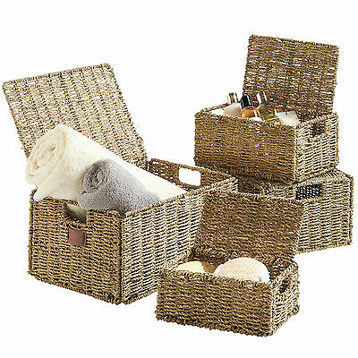 VonHaus Set of 4 Natural Seagrass Hand Woven Storage Baskets with Handles & Lids