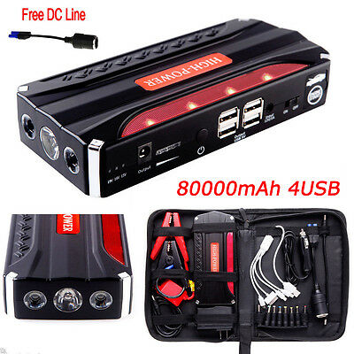 80000mAh Car Jump Starter 4USB Emergency Charger Booster Power Bank Battery UK !