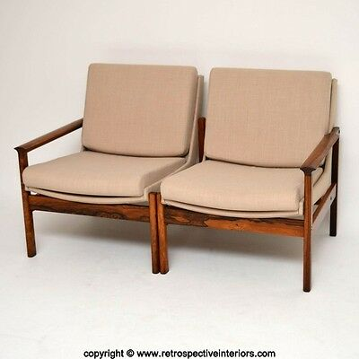 DANISH RETRO ROSEWOOD TWO SEAT SOFA / ARMCHAIRS / CORNER SUITE VINTAGE 1960's