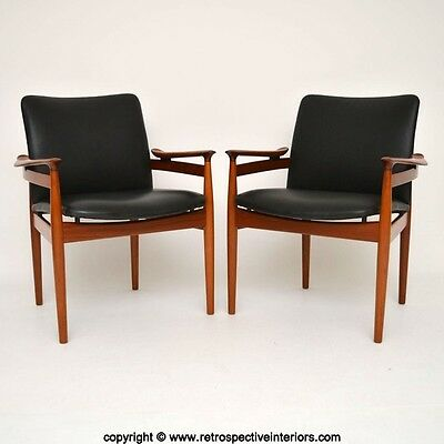 PAIR OF DANISH TEAK & LEATHER ARMCHAIRS BY FINN JUHL FRANCE & SON VINTAGE 1960's