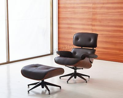 FoxHunter Luxury Lounge Chair And Ottoman Genuine Leather Recliner Seat Brown