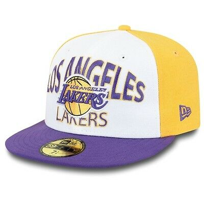 Los Angeles Lakers Word Arch NBA Fitted Team Cap By New Era Size 7 3/8