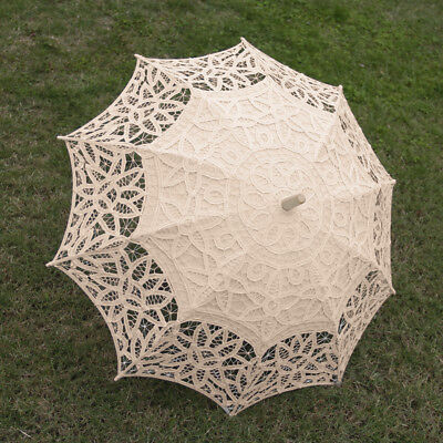 Beige Handmade Cotton Lace Wedding Prom Bridal Parasol Umbrella Wood Handle
