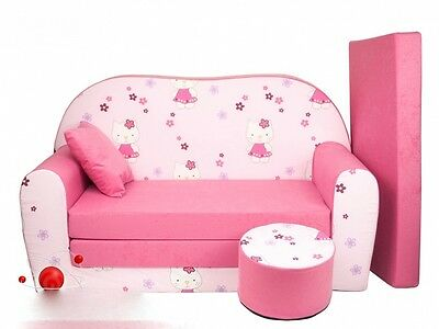 New Kids Sofa Pink Bed Childs Furniture Cotton Cover + Free Footstool & Cushion