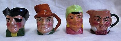 4 Small Artone Character Jugs - Micawber, Fortune Teller, Cpt Patch Bill Sykes