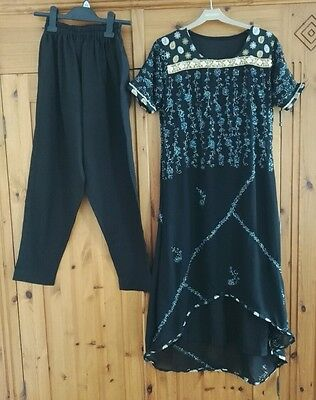 Black Cigarette Pant Suit With A Long Kameez, Fully Lined And Sequined Outfit