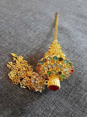 Traditional Thai Dance Costume gold HAIR PIN Women JEWELRY Wedding Bridal CLIPS