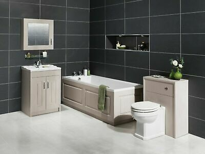 Traditional Shaker Style Bathroom Furniture Suite, Stone Grey, Various Options