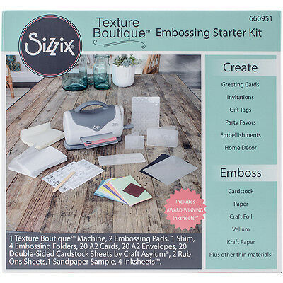 Sizzix Texture Boutique Embossing Starter Kit Gray & White 660951