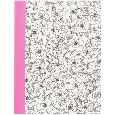 """Hall Pass Adult Coloring Composition Notebook 7.5""""X9.75"""" Floral 373585"""