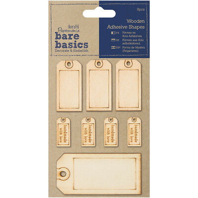 Papermania Bare Basics Adhesive Wooden Shapes 8/Pkg Tags PM174613