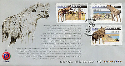 Namibia 2016 FDC Large Canines 3v Set Cover Hyenas Wild Dogs Wild Animals Stamps