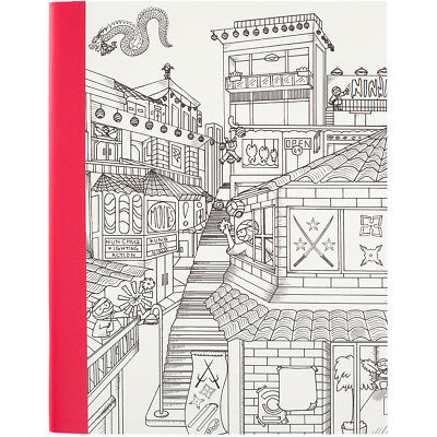 """Hall Pass Adult Coloring Composition Notebook 7.5""""X9.75"""" Ninja 373586"""