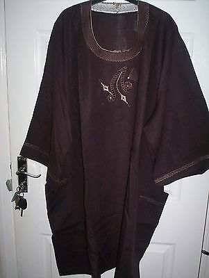 "African Traditional Linen Dashiki Brown  Men Chest 62 "" • EUR 32,83"