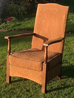 Antique upholstered chair small armchair with Oak legs and Arms