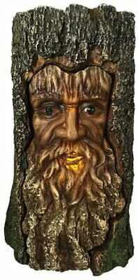 """7.5"""" Height Celtic Forest Deity Greenman In Carved Bark Look LED Light Figurine"""