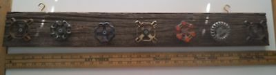 Vintage Rustic Michigan Barn Wood Coat Rack Hat Rack w 7 Vintage Water Knobs