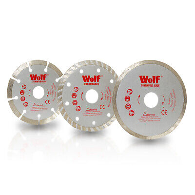 "Wolf Pack 3 115mm 4.5"" Angle Grinder Diamond Tipped Cutting Discs Blades"
