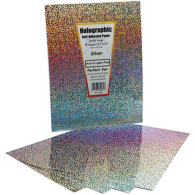 "Self Adhesive Specialty Paper 8.5""X11"" 5/Pkg Silver Holographic 32285"