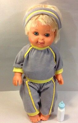 "Vintage 1989 IDEAL BETSY WETSY BABY DOLL 16"" Drink Bottle Wet Blue Sleep Eyes"