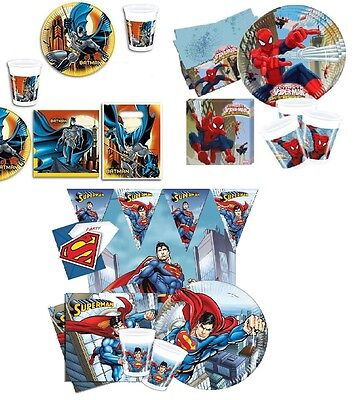 Superhero Party Tableware Plates Cups Napkins Boys Spiderman Batman Superman