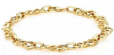 "9ct Solid YELLOW GOLD Textured Celtic Bracelet 19cm/7.5"" + FREE Gift"