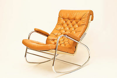 Danish Bruno Mathsson chrome and leather  Rocking Chair / Rocker - Vintage