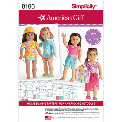 Simplicity American Girl Doll Clothes For 18 Doll One Size *PATTERN* US8190OS