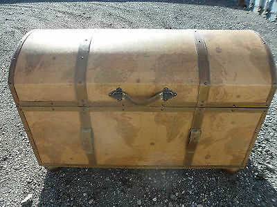 Antique Victorian style repro dome top steamer trunk,travel chest,blanket box