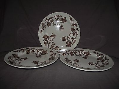 Set of 3 J G Meakin Windsong Dark Brown Dinner Plates