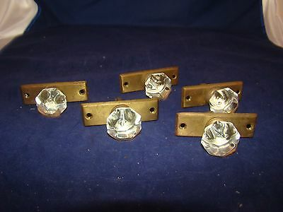Vintage Brass and Glass Pulls Qty 5