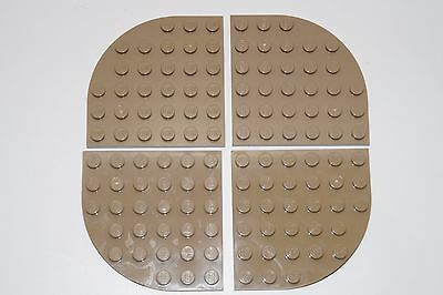 Plate 6x6 Round Corner NEW beige dark tan 4 x LEGO 6003 Plaque Coin Arrondi