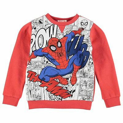 Boys Kids Childrens Red White Marvel Comics Spiderman Retro Top Jumper Sweater