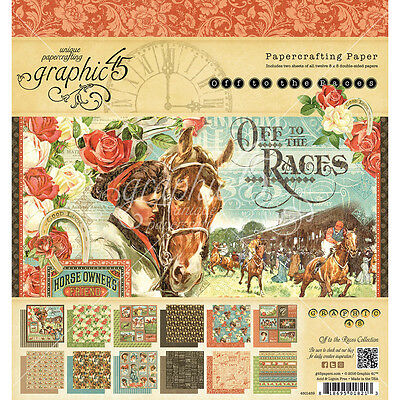 """Graphic 45 Double Sided Paper Pad 8""""X8"""" 24/Pkg Off To The Races, 12 Designs/2 Ea"""
