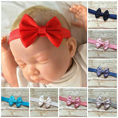 Baby Girl Satin Bow Headbands Variety of Colours Red Blue Pink Ivory White Black