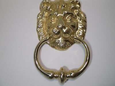 VTG Old Stock -Big Bronze Brass Lion Head Door Outdoor Knocker ,Knob , 8'' long!