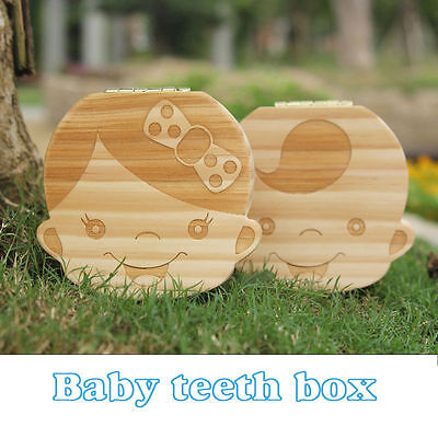Tooth Box organizer for baby Save Milk teeth Wood storage box for kids US