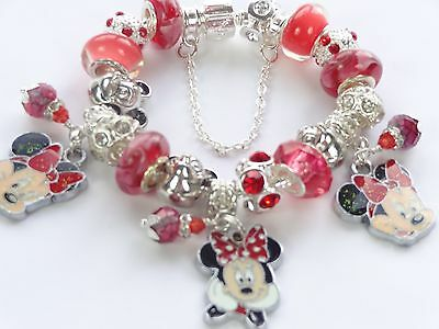 Girls Red Minnie Mouse European Bead Charm Bracelet