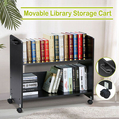 Book Cart Library Cart Moving Cart Rolling Book Trolley Storage Heavy Duty Black