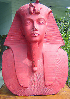 "Contemporary EGYPTIAN pharaoh HEAD life size PLASTER King Tut CHINESE RED 21"" h"