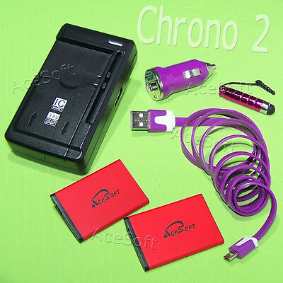 1070mAh Replacement Battery Charger Car USB Cable Pen for Samsung Chrono 2 Phone