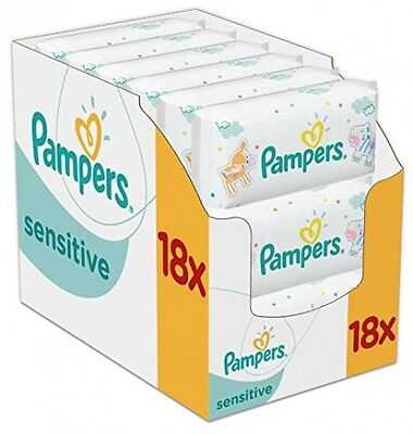 Pampers Sensitive Baby Wipes - Pack Of 18 (Total 1008 Wipes) NEW