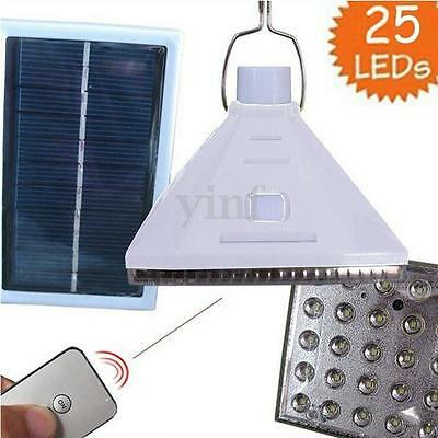 25 LED Solar Powered Camping Lamp Remote Control Hanging Outdoor Tent Light