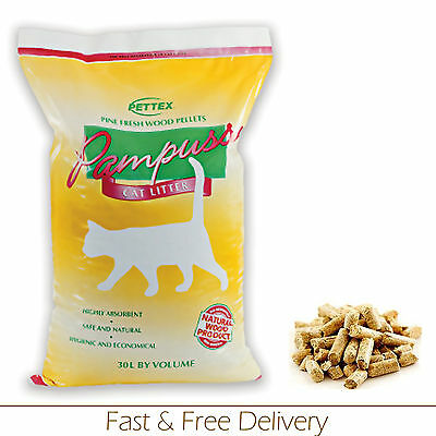 Cat Litter Wood Based 30L Highly Aborbent Low Odour Recycled Wood Pellet Litter