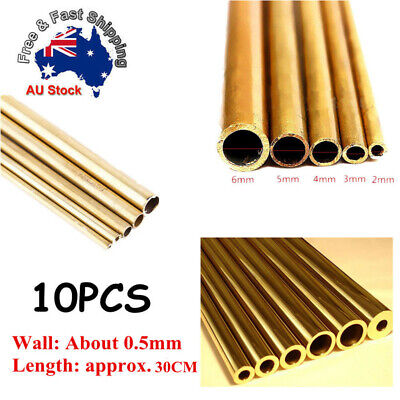 10 x NEW Round Brass Tube 0.5mm Wall 300mm Long 3mm/5mm/6mm/8mm Inner Diameter